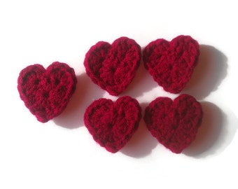 crochet heart applique, set of 5, valentines day decoration, embellishment