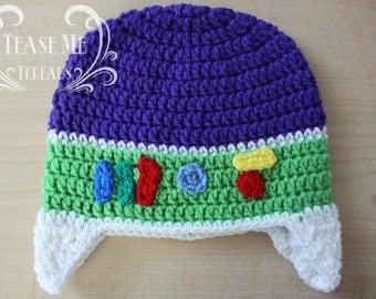 Buzz Light Year Crochet Hat_ Toy Story Hat_ Winter Buzz Lightyear Beanie_