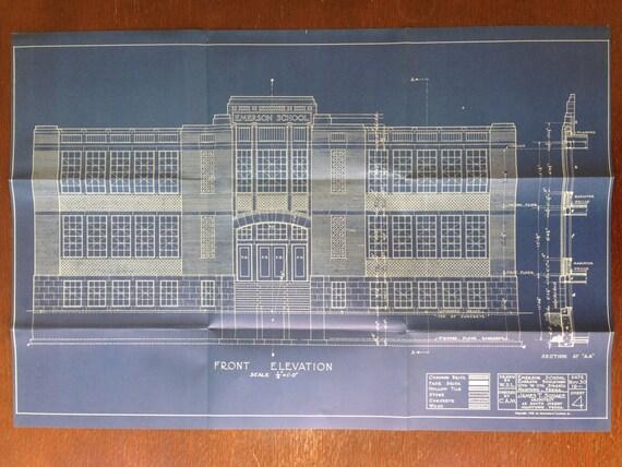 Front Elevation Antique : Original vintage blueprint emerson school front by eyespypix