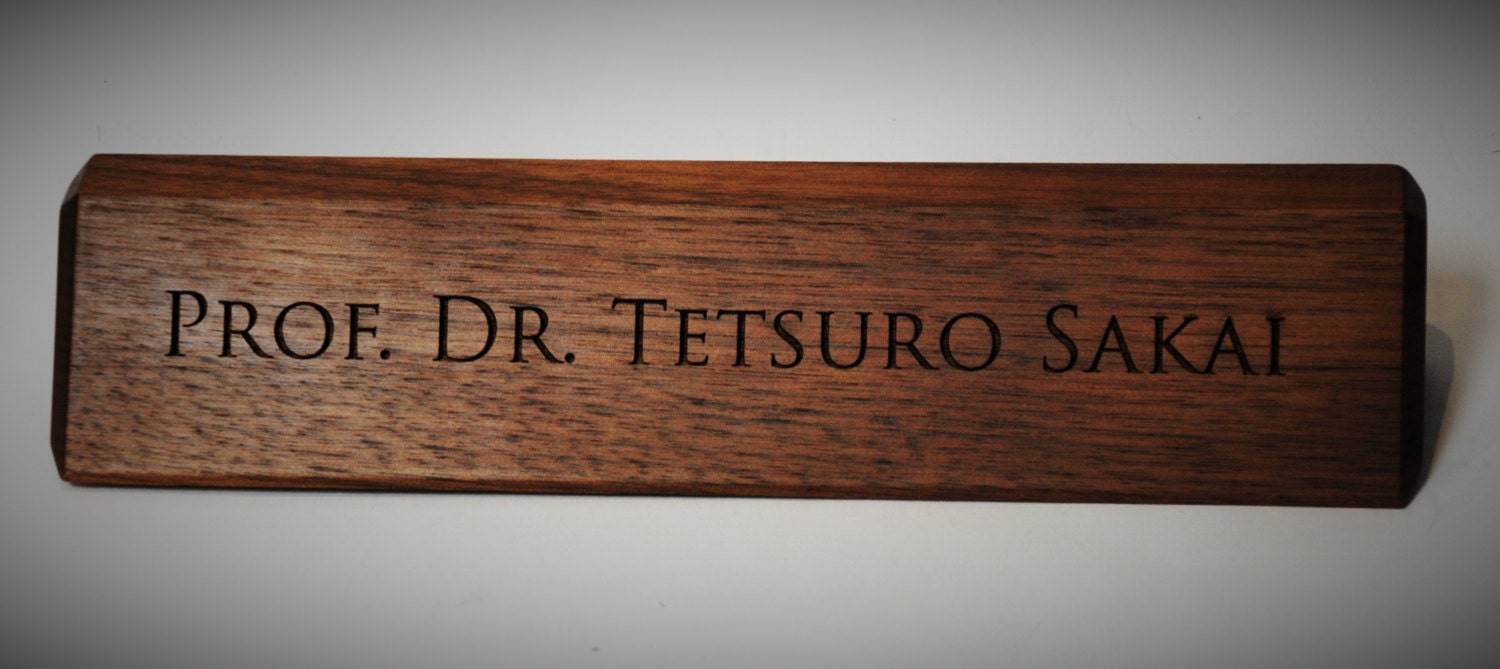 Wooden Desk Name Plates ~ Personalized wooden desk name plates inch solid walnut