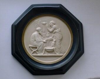 Neoclassic ceramic octagon plaque
