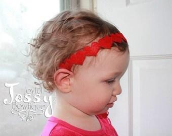 Felt heart headband, Valentines day headband.