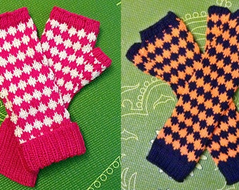 Diamonds are Forever  - Dual-Color Fingerless Knit Gloves in a Diamond Pattern
