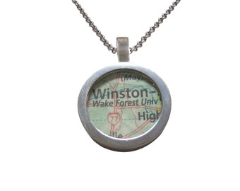 Wake Forest University Map Pendant Necklace