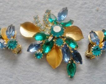 "Fabulous Pre 1955 Designer Signed ""Weiss"" 3 Piece Brooch & Earring Set"