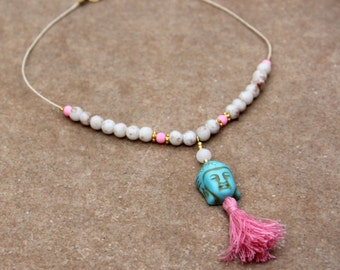 Buddha Necklace (blue, pink and beige colour)