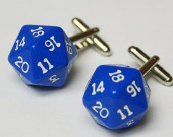 Blue 20 Sided Dice Cufflinks d20 Free gift bag Geeky Twist for Weddings