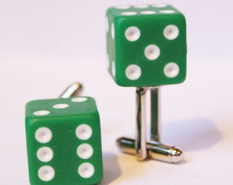 Green 6 Sided Dice Cufflinks Free gift bag