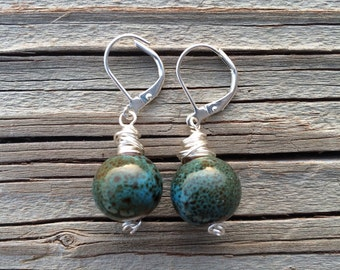 Silver Wrapped Green and Blue Speckled Porcelian Earrings