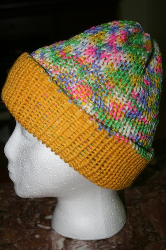 Knit Reversible Hat in Yellow and Pastel