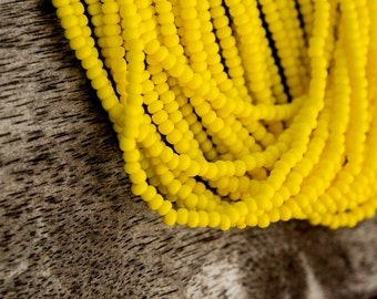 Yellow Opaque color Seed Beads (5 strands)