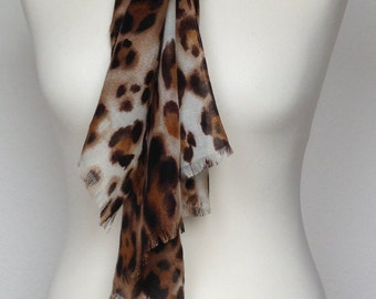 Brown Leopard scarf