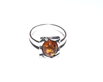 sterling silver and natural baltic amber ring