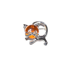 sterling silver and natural baltic amber brooch