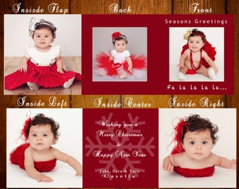 CUSTOM PHOTO Holiday Card / Christmas Card 5x5x5 Card - Template Tri Fold