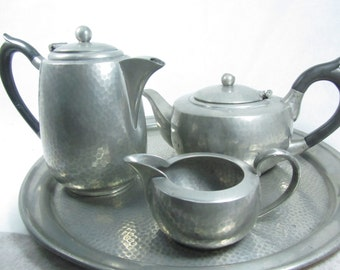 Vintage Teapot, Coffee Pot and Creamer, Serving Tray, Hand Hammered Pewter, Sheffield England, Manor Period