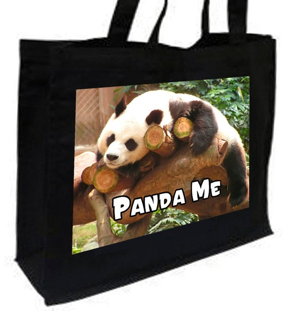 Panda Me Cotton Shopping Bag with gusset and long handles, 3 colour options