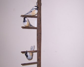 Folk Art hand carved and painted Chickadees
