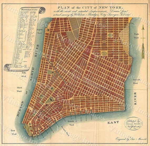 1807 Historic New York City Map Plan Restoration Hardware Style lower Manhattan wall Map Fine Art Print home decor