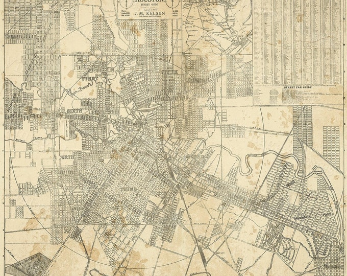 Houston On Map Of Texas.Houston Map Texas Old Map Of Houston Houston Tx Houston City Map Vintage Map Old Texas City Map Map Of Texas Six Sizes Up To 43 X 49