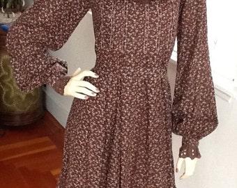 Vintage Dress/ Prairie/70's/Chocolate/floral print /dress--Reduced!