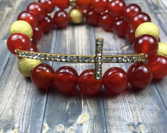 Carnelian gemstone cross bracelet set, cross bracelet, stretch bracelet, stackable bracelet, gifts for her, jewelry, gifts