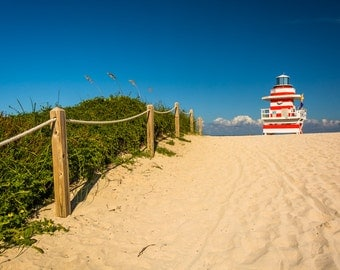 Sand dunes and lifeguard station in Miami Beach, Florida - Beach Landscape Photography Fine Art Print or Wrapped Canvas