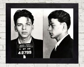Frank Sinatra Mug Shot Photo Black and White - DIGITAL print