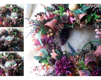 Autumn's Splendor Wreath Floral Home Decor, Silk Flowers, Warm Fall Colors Front Door Wreath Indoor Wall~Pine Cones Wine Grapes~Housewarming
