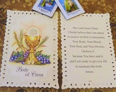 FIRST COMMUNION LACE Holy Card, Confirmation and Catholic Baptism Holy Card, Scapular of the Blessed Virgin Mary, Our Lady of Mt. Carmel