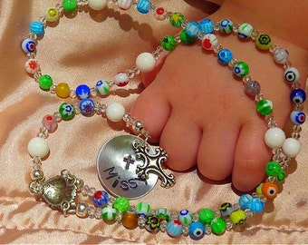 BABY GIRL'S Baptism Rosary, Personalized Rosary, First Communion, Catholic Rosary, Religious Gifts, First Communion, Child's Rosary