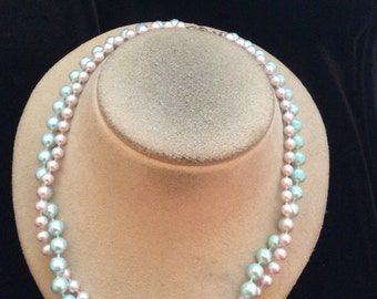 Vintage Pale Pink & Blue Beaded Necklace