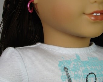 "Removable Pink Hoop Earrings for 18"" Play Dolls such as American Girl® Grace"