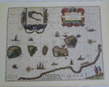 VINTAGE BOOK PLATE of  1630 Molucca Islands Map, Vintage Map, vintage book, world map,  wall art, wall decor