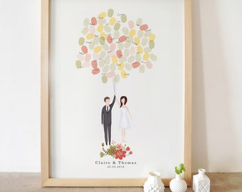 Bespoke Bride and groom portrait guestbook