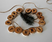 MERRY CHRISTMAS Garland - Rustic Wood Burned Birch Tree Slices Christmas Garland - (#300.13)