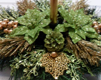 CLEARANCE - Christmas Centerpiece  in Green and Gold.