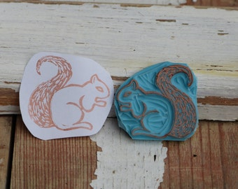 squirrel, hand-carved rubber stamp