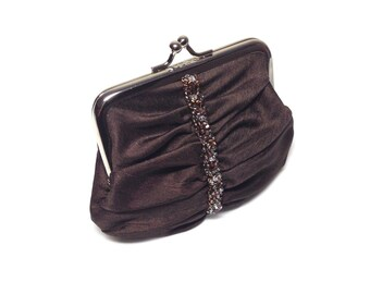 Chocolate Brown Swarovski beaded coin purse