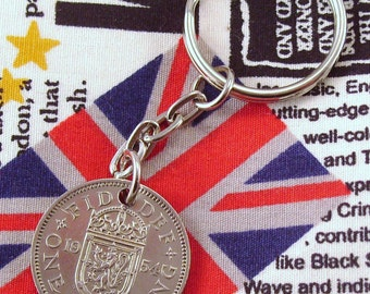 1954 Old Scottish Shilling Coin Keyring Key Chain Fob Queen Elizabeth II