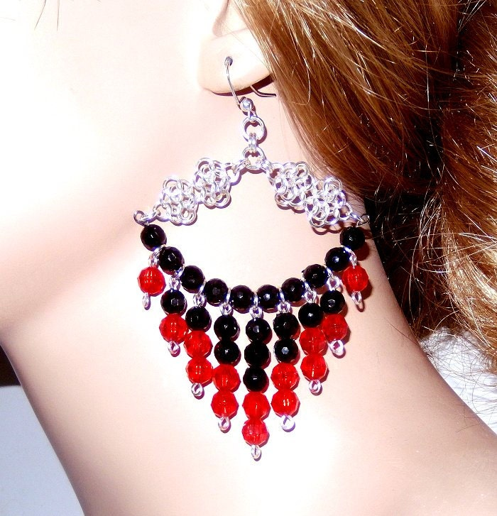 Red Chandelier Earrings: Large Red And Black Earrings Chandelier Earrings Beaded