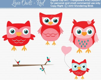 Love Owls Clipart - Digital Clip Art  - Instant Download - Owl clip art - trees- valentines day - owl clipart -v day clip art