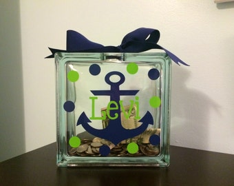 Kids Personalized Piggy Bank, Kids Piggy Bank, Custom Piggy Bank, Nautical Piggy Bank, Piggybank