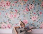 "Cutesie Floral Wallpaper, Girls Room Wallpaper, Flower Pattern - 100"" x 108"""