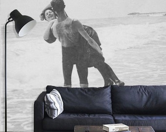 "Vintage Photograph Mural, Black and White Wallpaper, Beach Scene - 100"" x 96"""