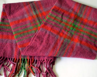 Vintage JOHN HANLY & Co. Lambswool Pink/Red/Olive Fringed Scarf Made in IRELAND