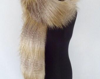 gold faux fur boa, cream fur scarf, brown fake fur, wrap, stole, shawl
