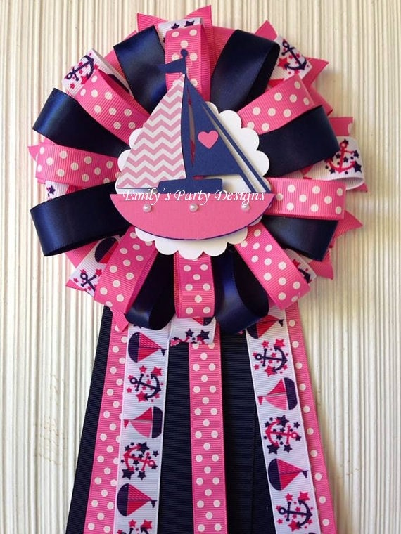 nautical girl baby shower corsage sailboat theme baby shower pink