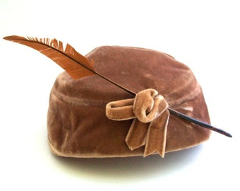 Vintage Pillbox Hat, Brown Pillbox Hat, Brown Hat, Brown Velvet Hat, Feathered Hat, Feathered Pillbox Hat, Tilted Hat, Vintage Feathered Hat