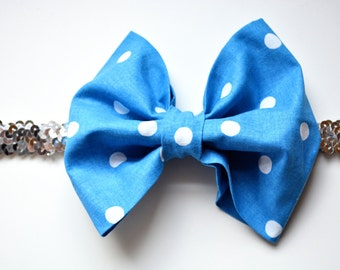 Blue and white polka dot baby/little girl headband with silver sequin band